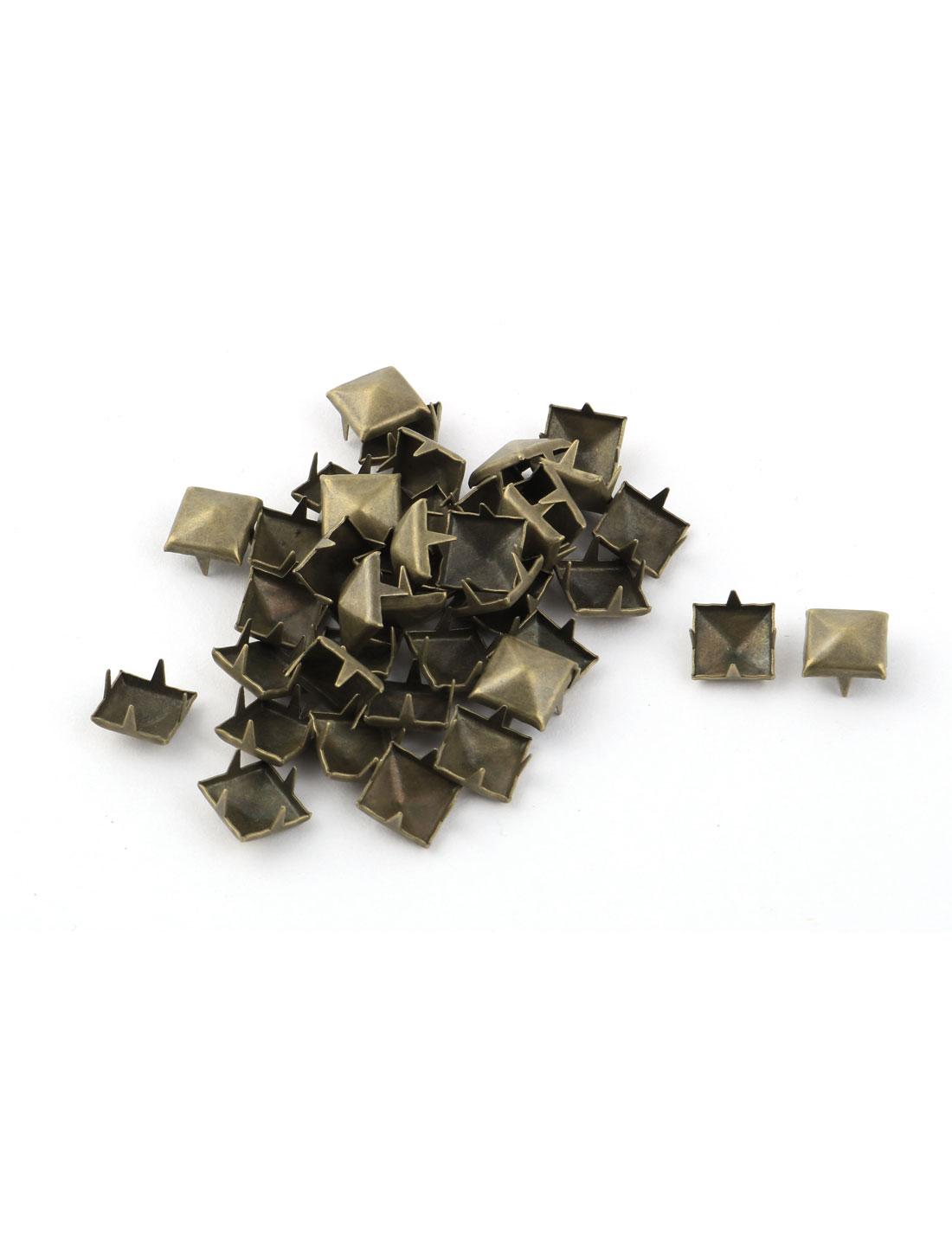 Metal Square Pyramid Shape DIY Rivet Studs Bronze Tone 9mm 40pcs for Clothing Bag