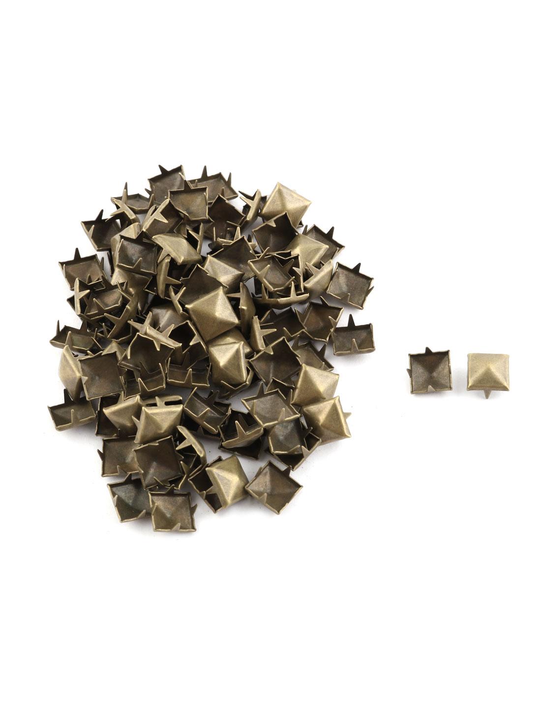 Metal Square Pyramid Shape DIY Rivet Studs Bronze Tone 9mm 100pcs for Clothing Bag