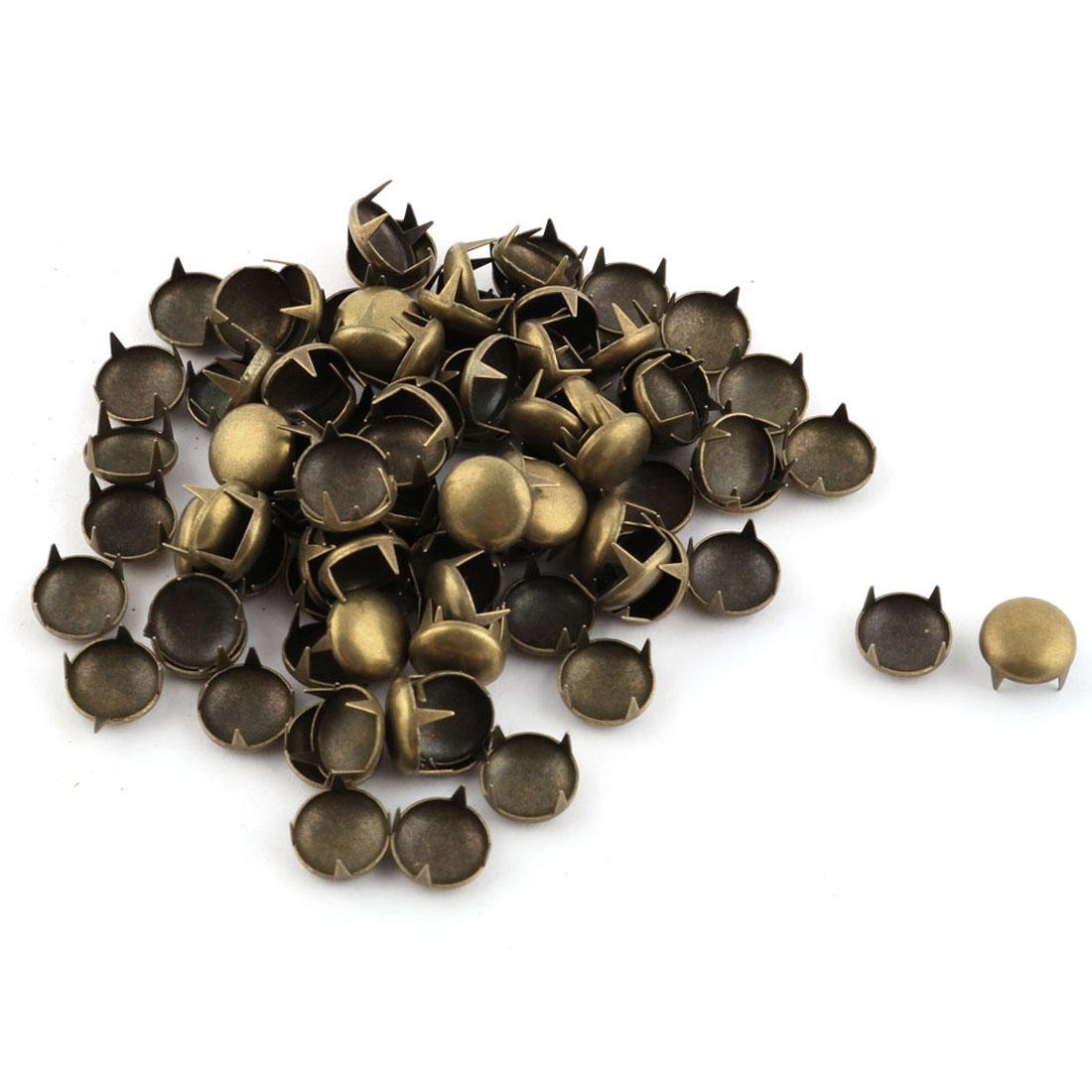 Metal Round Shaped Head DIY Rivet Studs Bronze Tone 10mm 100pcs for Clothing Bag