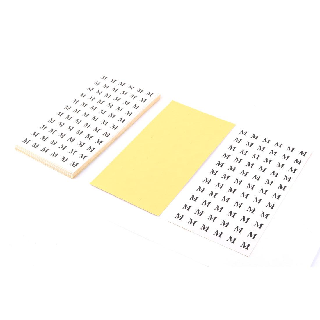 Round Shape Self Adhesive Clothing Size Label Stickers Paper M Black White 1980pcs