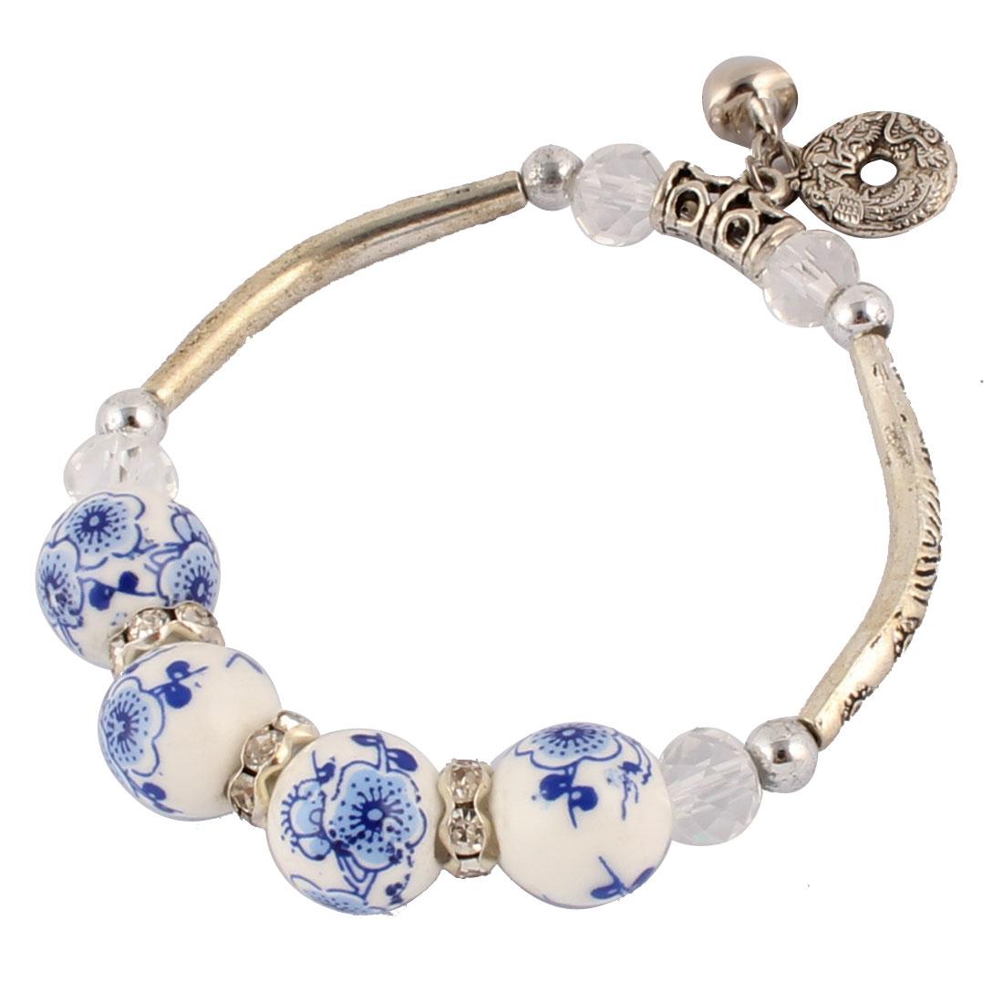 Women Ring Shape Pendant Small Bell Decor Wrist Bracelet Bangle 12mm Dia