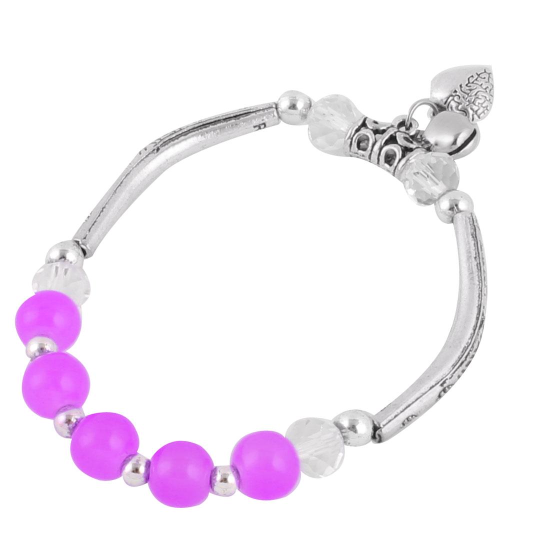 Women Heart Shape Pendant Small Bell Decor Wrist Bracelet Bangle 8mm Dia