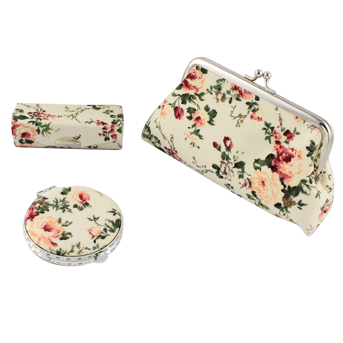Lady Party Travel Makeup Peony Pattern Wallet Mirror Lipstick Case 3 in 1