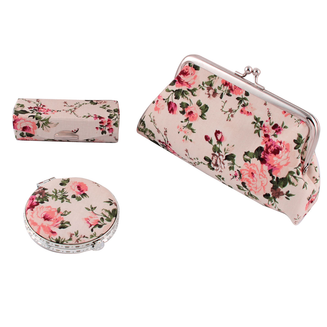 Lady Party Shopping Makeup Peony Pattern Wallet Mirror Lipstick Case 3 in 1