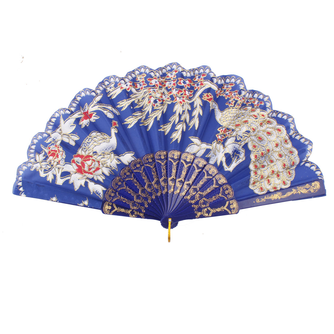 Party Stage Peacock Flower Tree Pattern Chinese Retro Style Shining Hand Fan
