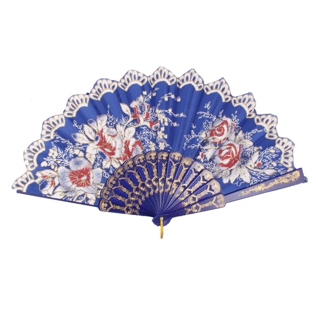 Party Stage Wedding Flower Pattern Chinese Retro Style Shining Dance Hand Fan