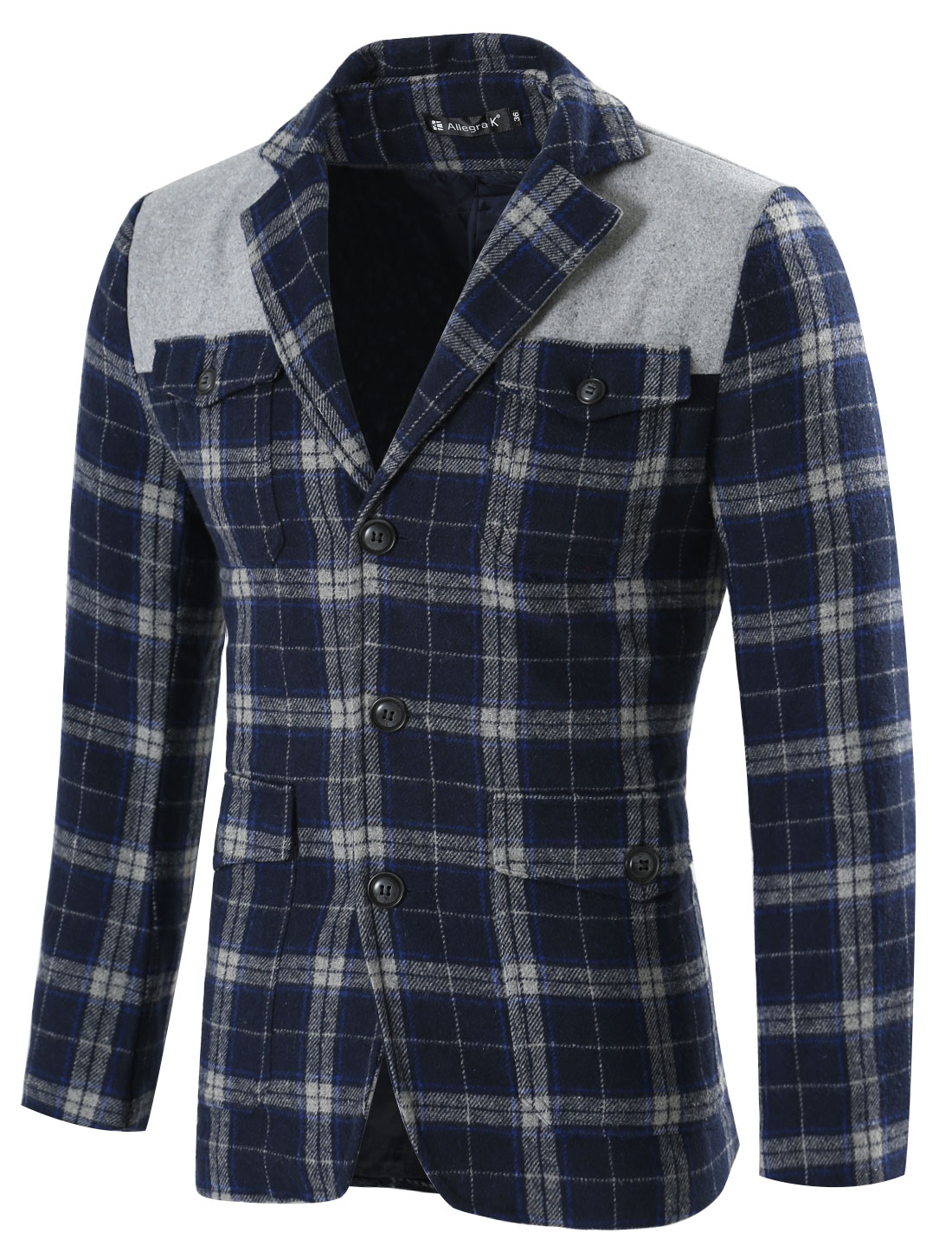 Men Notched Lapel Checks Multi Pockets Button Closure Blazer Blue L