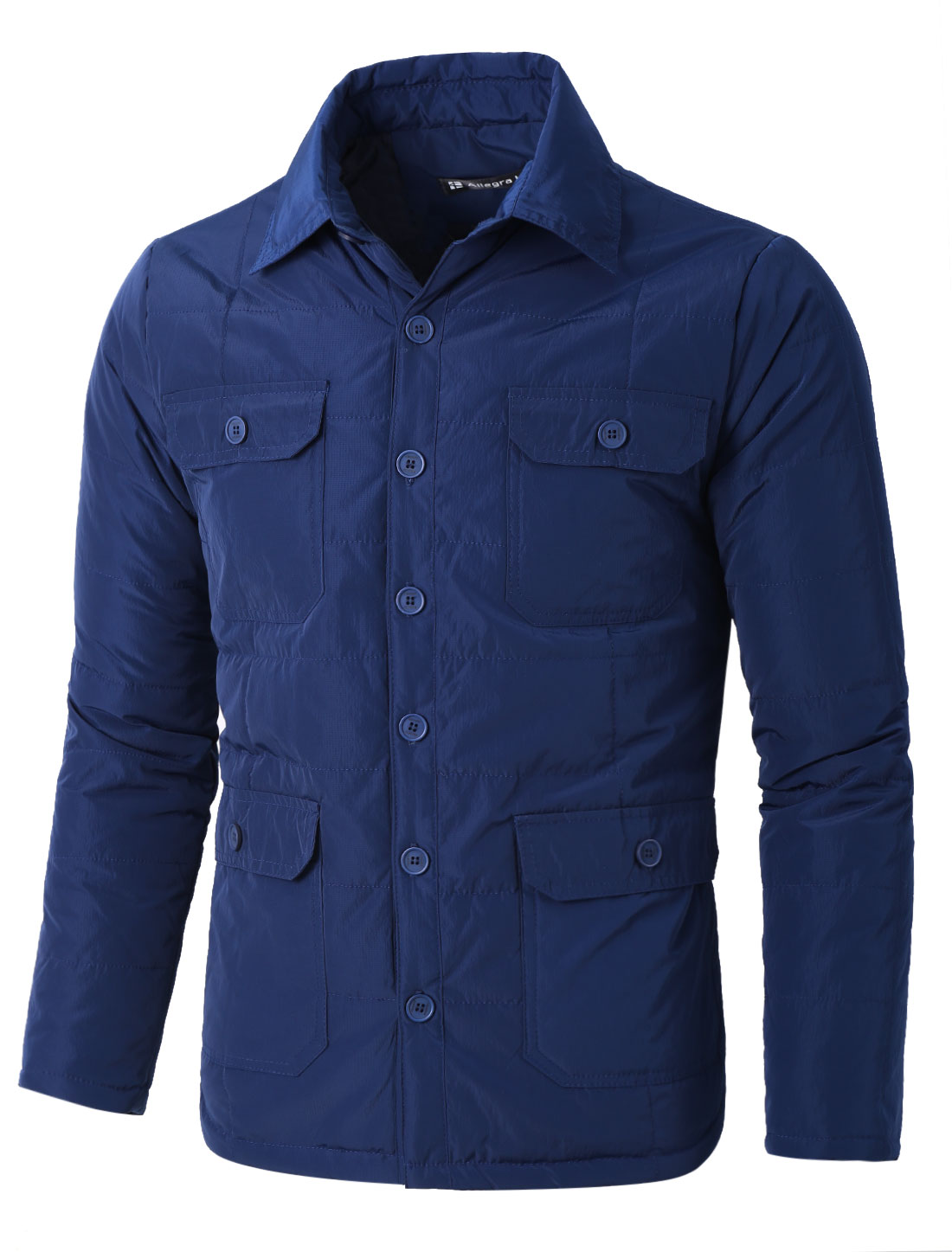Men Convertible Collar Multi Pockets Buttoned Quilted Coat Blue L