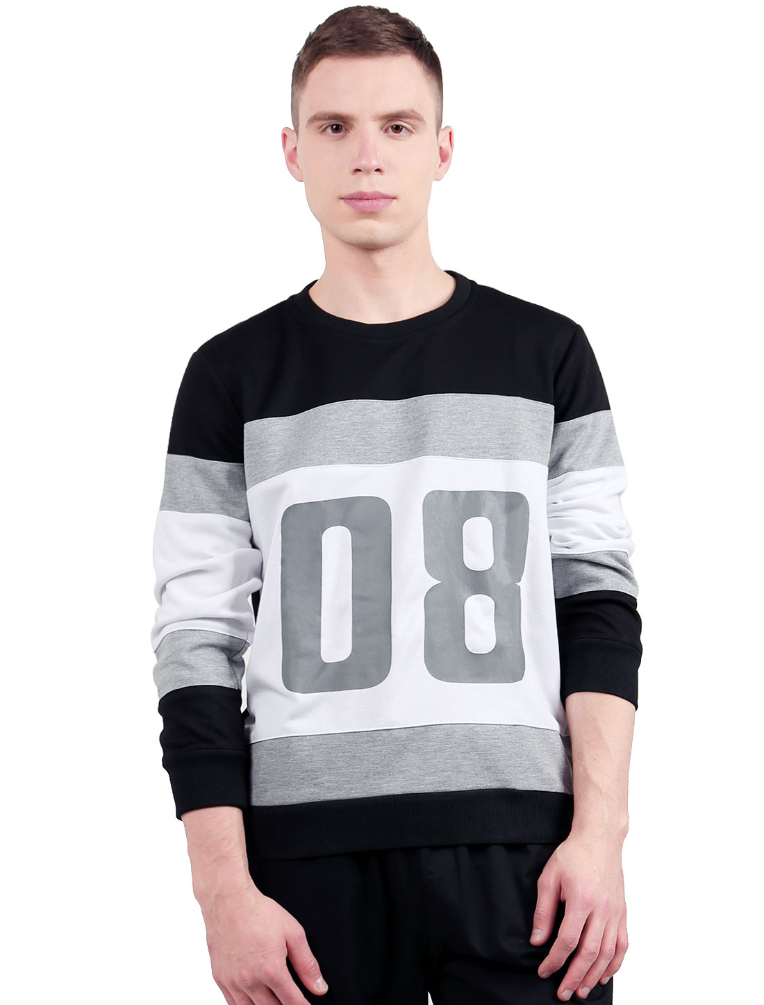 Men Color Block Number 08 Crewneck Baseball Sweatshirt Black S