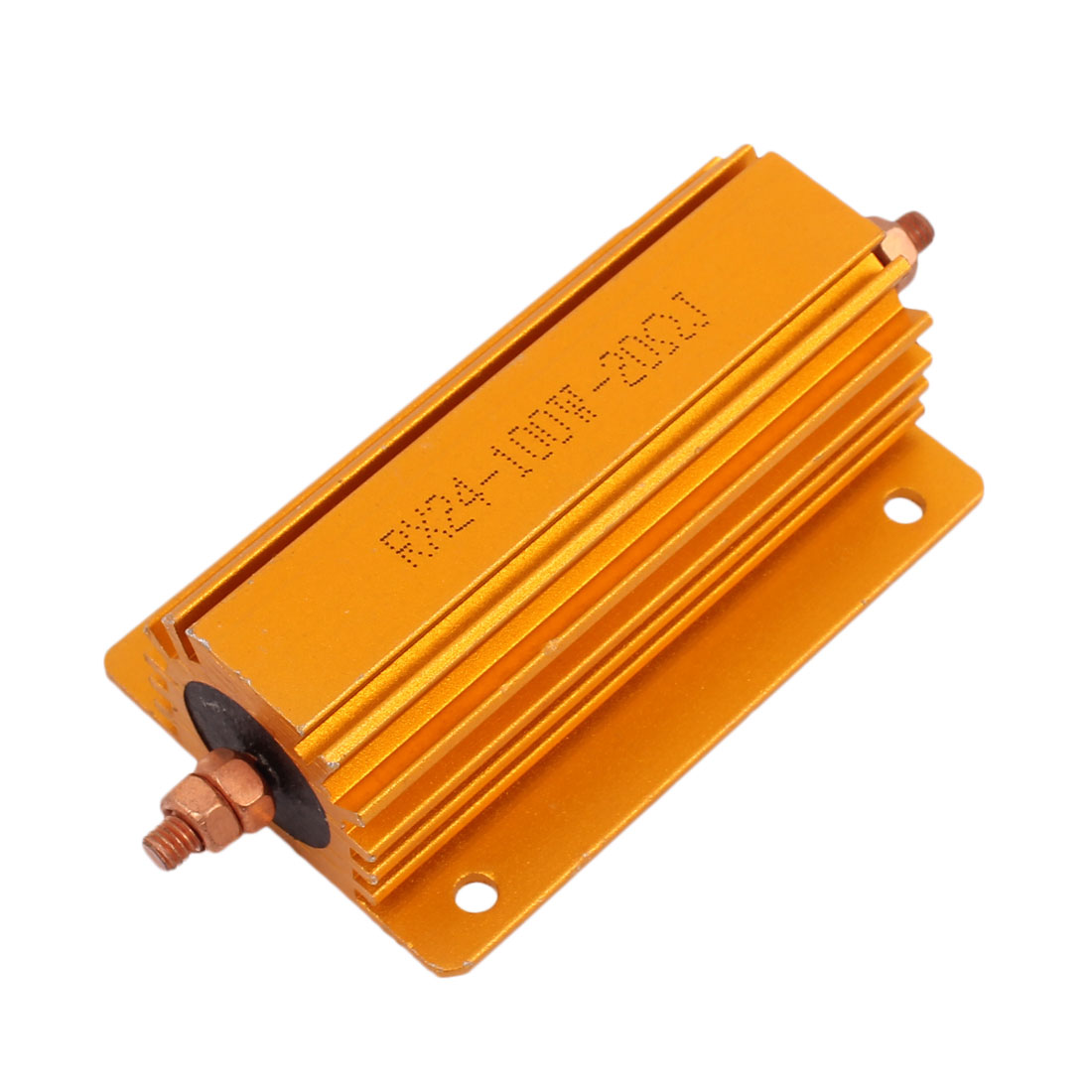 100W 20 Ohm Gold Tone Chassis Mounted Aluminum Shell Clad Resistor