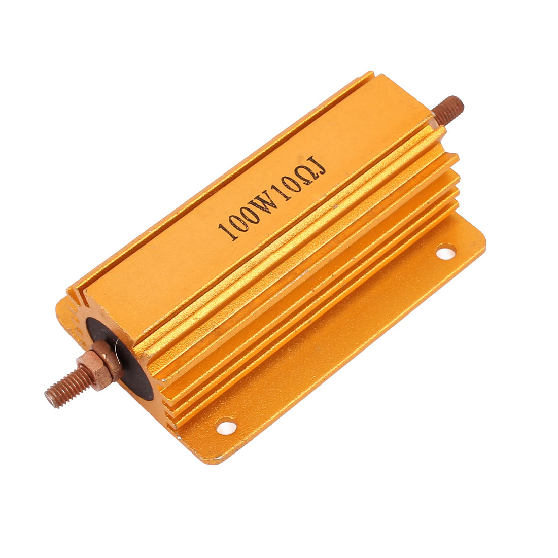 100W 10 Ohm Gold Tone Chassis Mounted Aluminum Shell Clad Resistor
