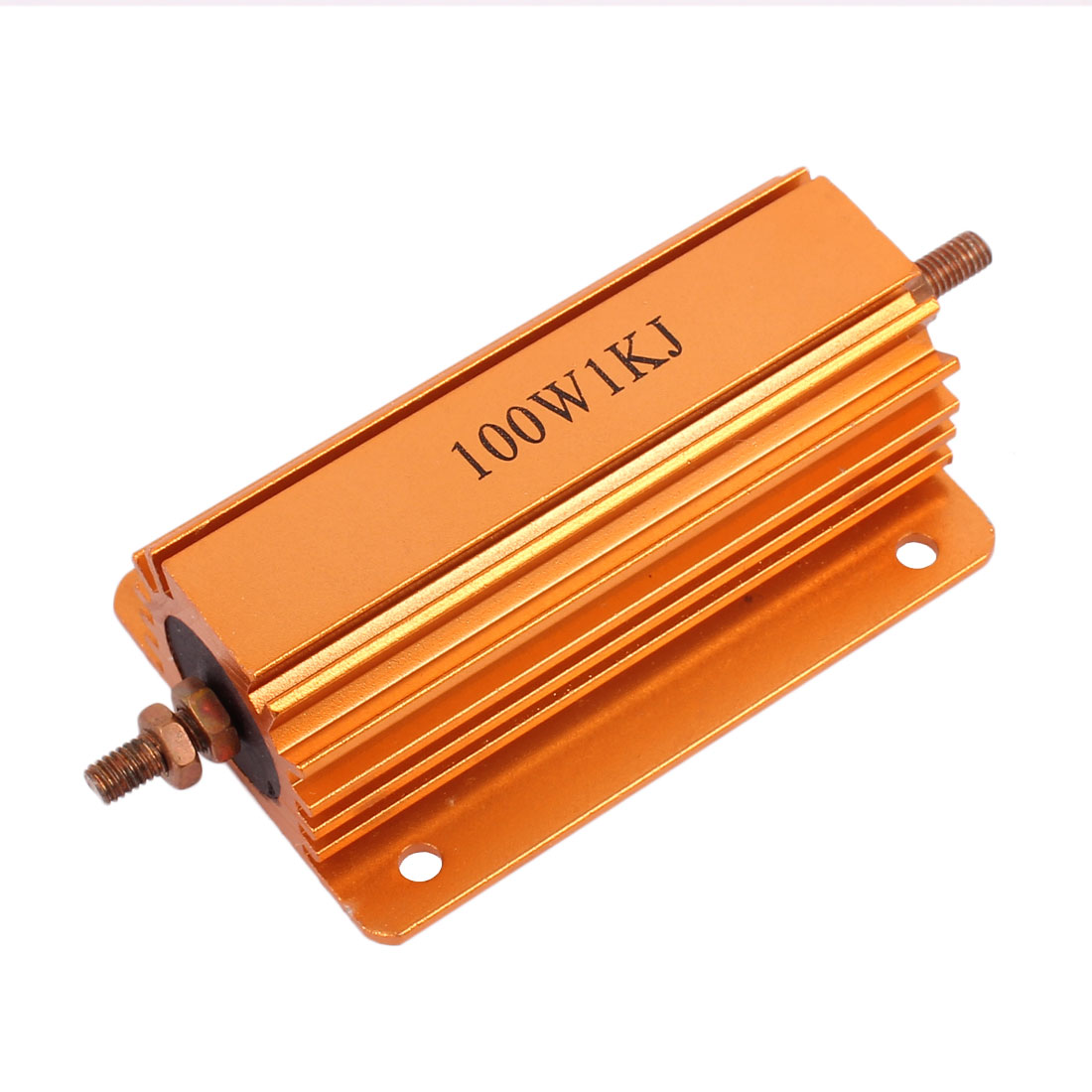 100W 1000 Ohm Gold Tone Chassis Mounted Aluminum Shell Clad Resistor