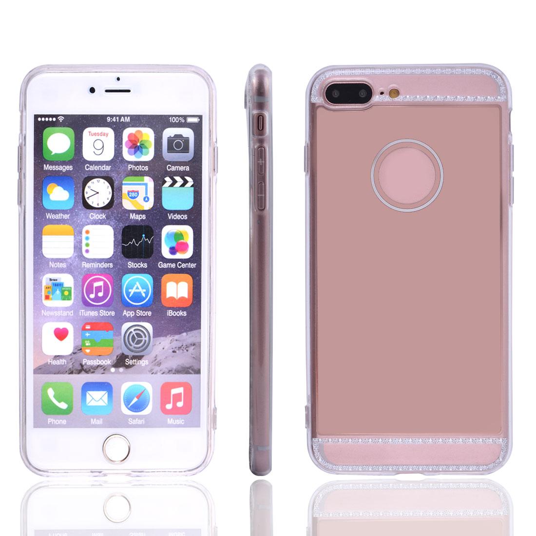 TPU Mirror Slice Design Shock Resistance Protective Sets Case Cover Rose Gold Color for iPhone 7