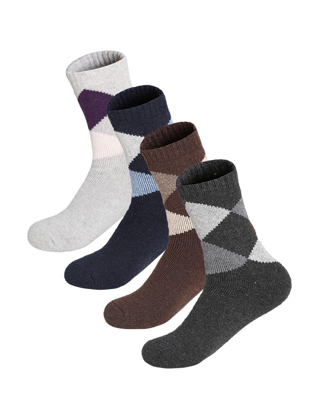 Men 4 Pack Argyle Pattern Thermal Crew Socks 10-12 Assorted-Argyle4