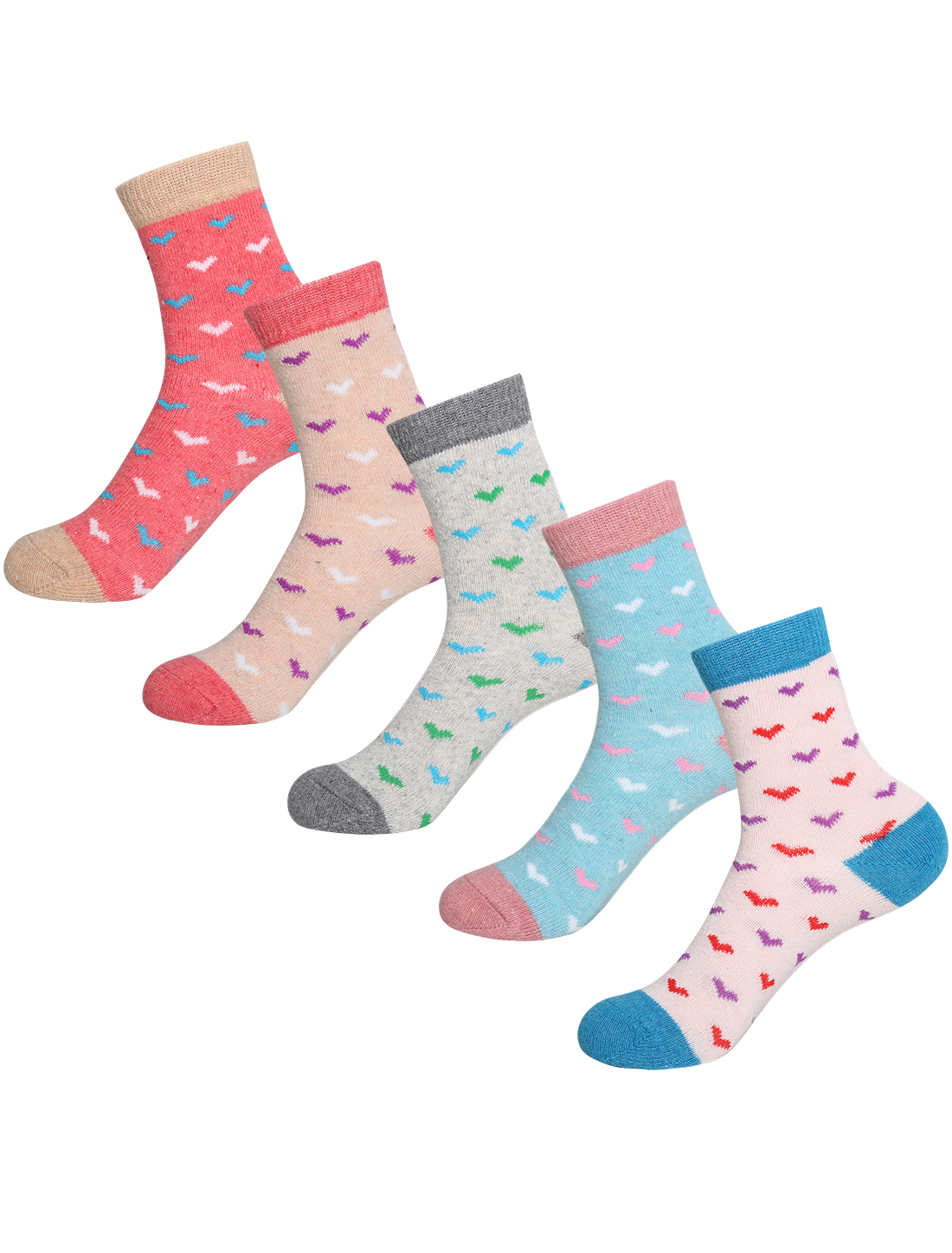 Women 5 Pack Hearts Pattern Thermal Crew Socks 7-9 Assorted-Hearts
