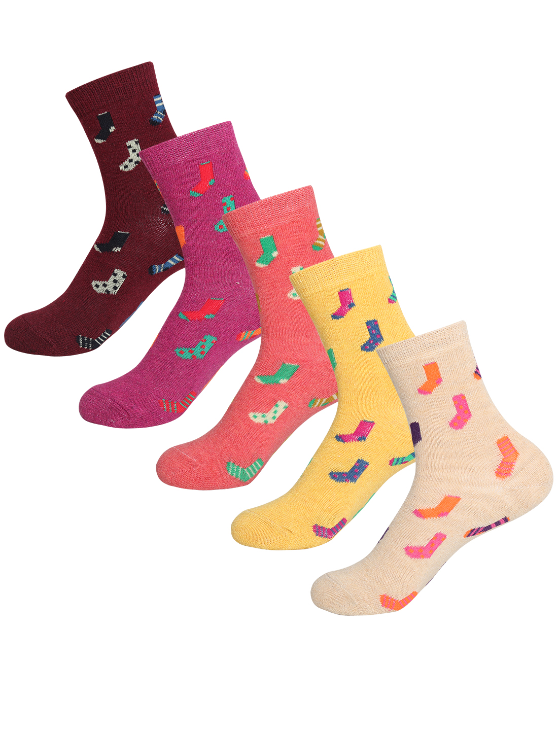 Women 5 Pack Socks Pattern Thermal Crew Socks 7-9 Assorted-Socks