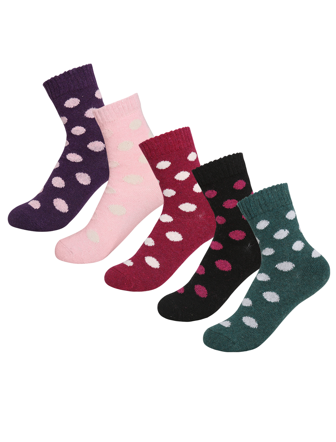 Women 5 Pack Dots Pattern Thermal Crew Socks 7-9 Assorted-Dots