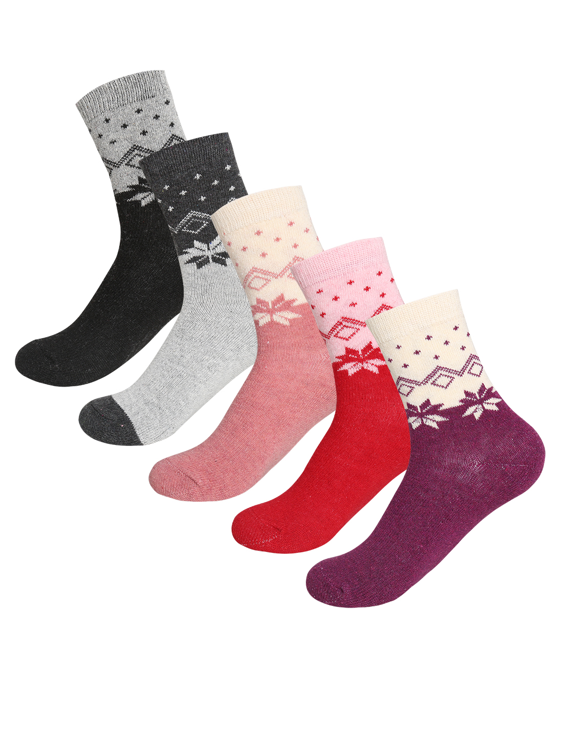Women 5 Pack Novelty Pattern Thermal Crew Socks 7-9 Assorted-Novelty