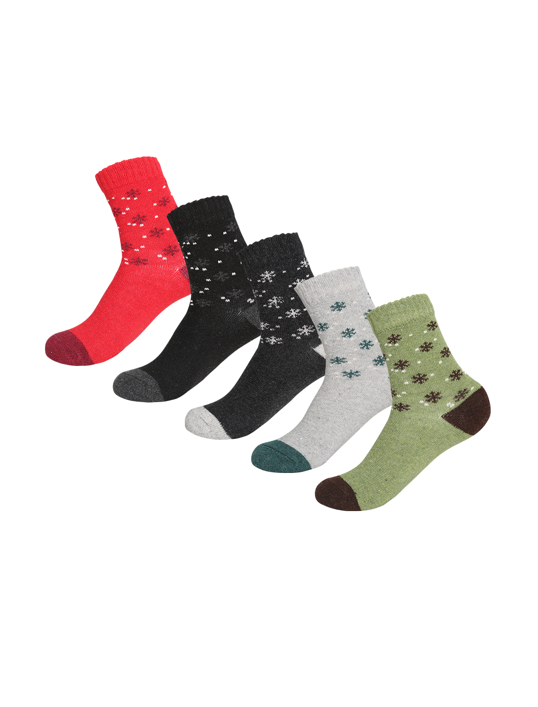 Women 5 Pack Small Snowflake Pattern Crew Socks 7-9 Assorted-SnowflakeS
