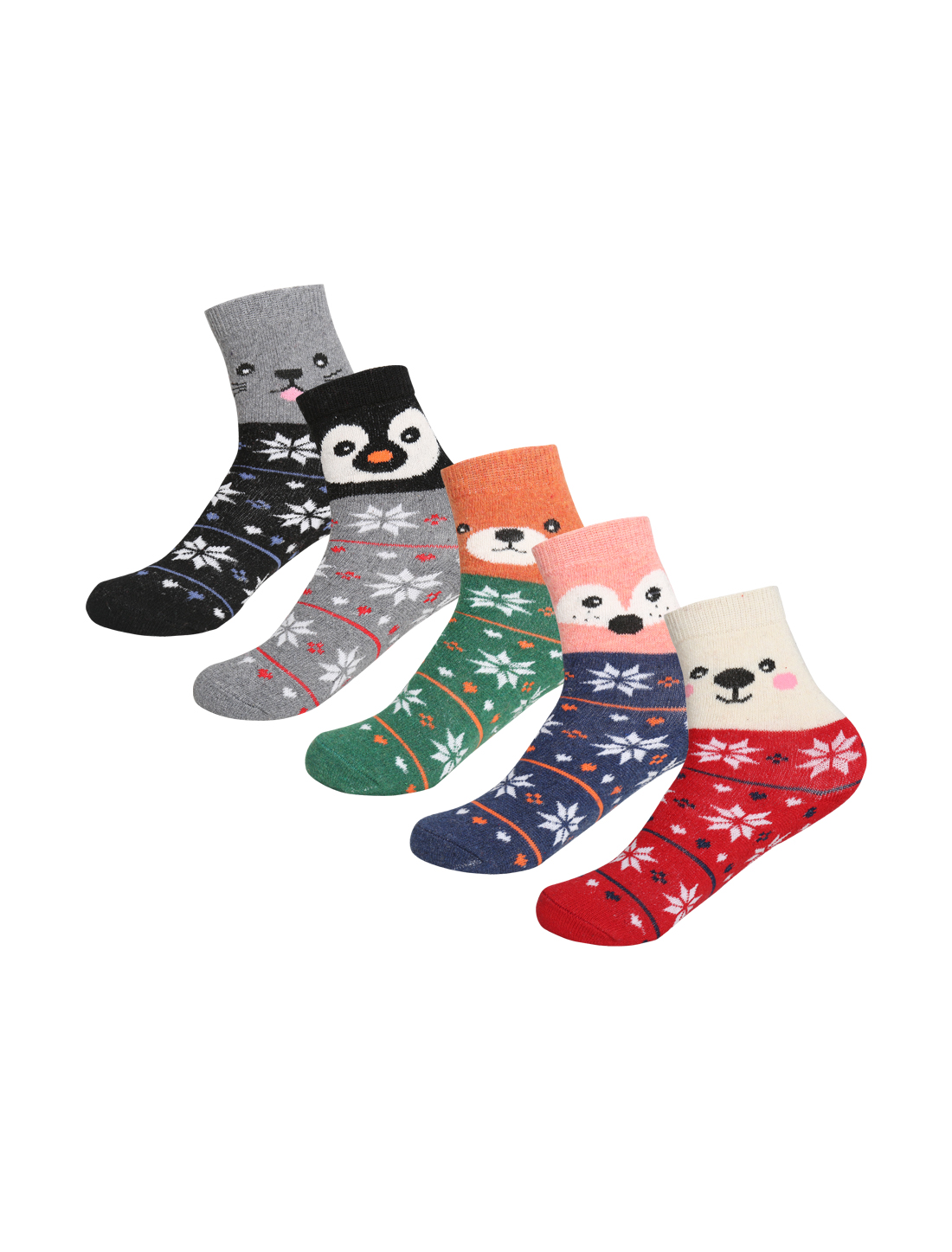 Women 5 Pack Animal Novelty Pattern Thermal Crew Socks 7-9 Assorted-3
