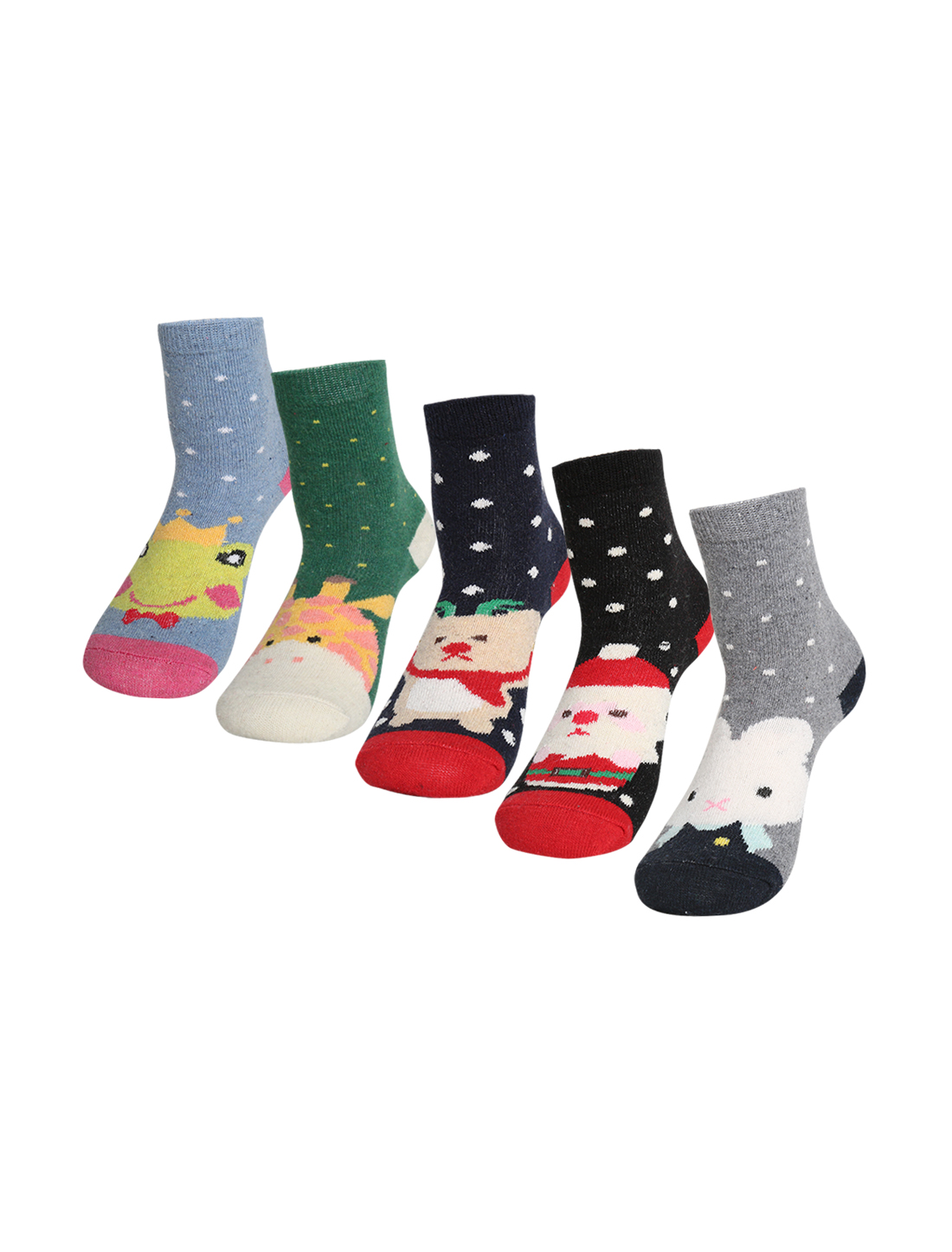 Women 5 Pack Animal Dots Pattern Thermal Crew Socks 7-9 Assorted-1
