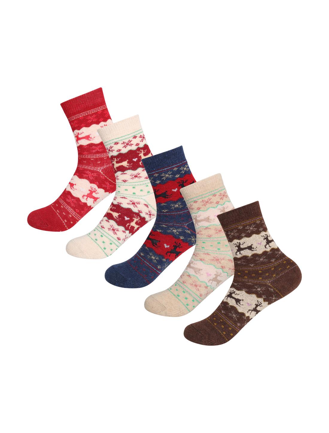 Women 5 Pack Christmas Deer Pattern Crew Socks 7-9 Assorted-Deer