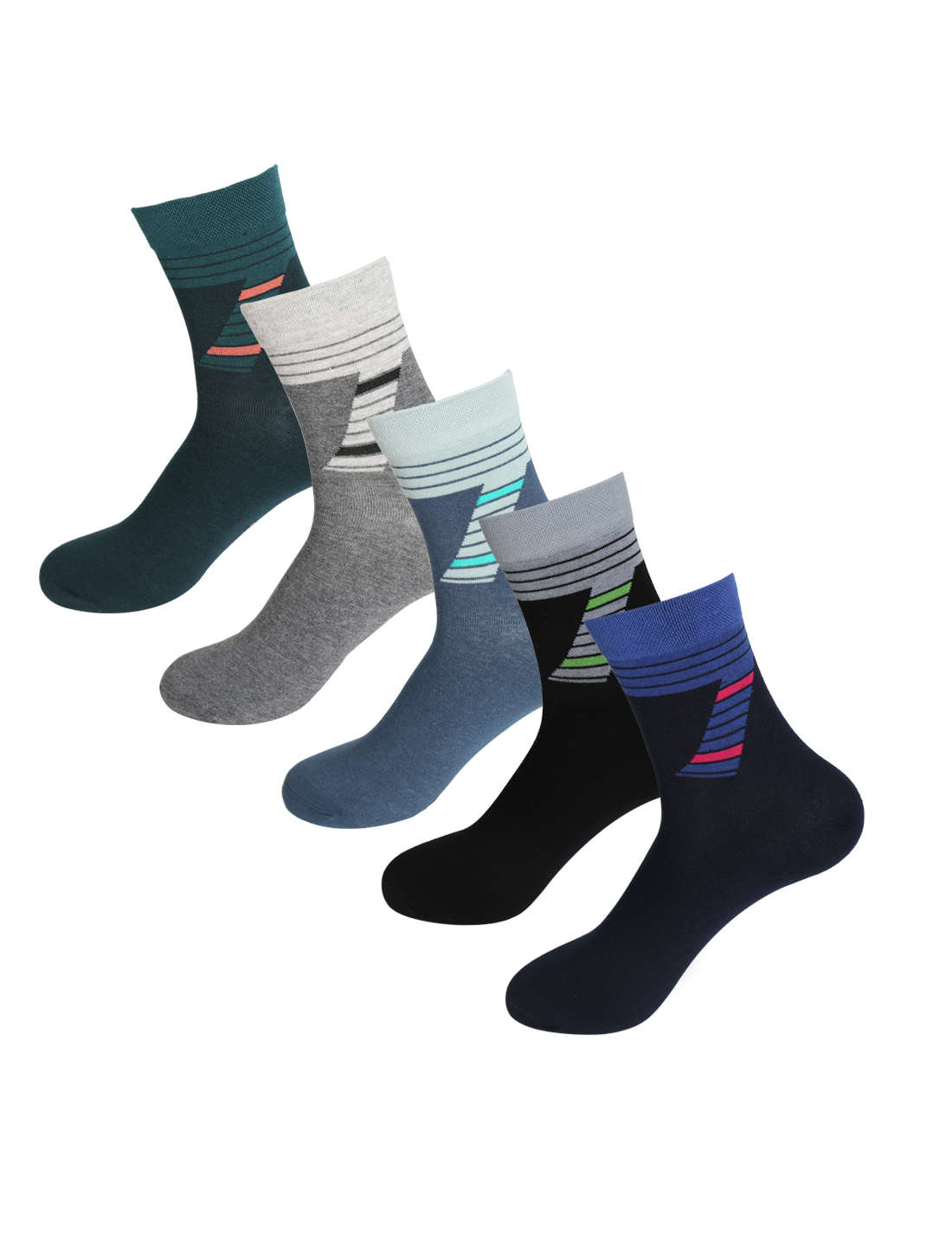 Men 5 Pack Cotton Blend Elastic Bold Stripe Crew Socks Assorted 10-12