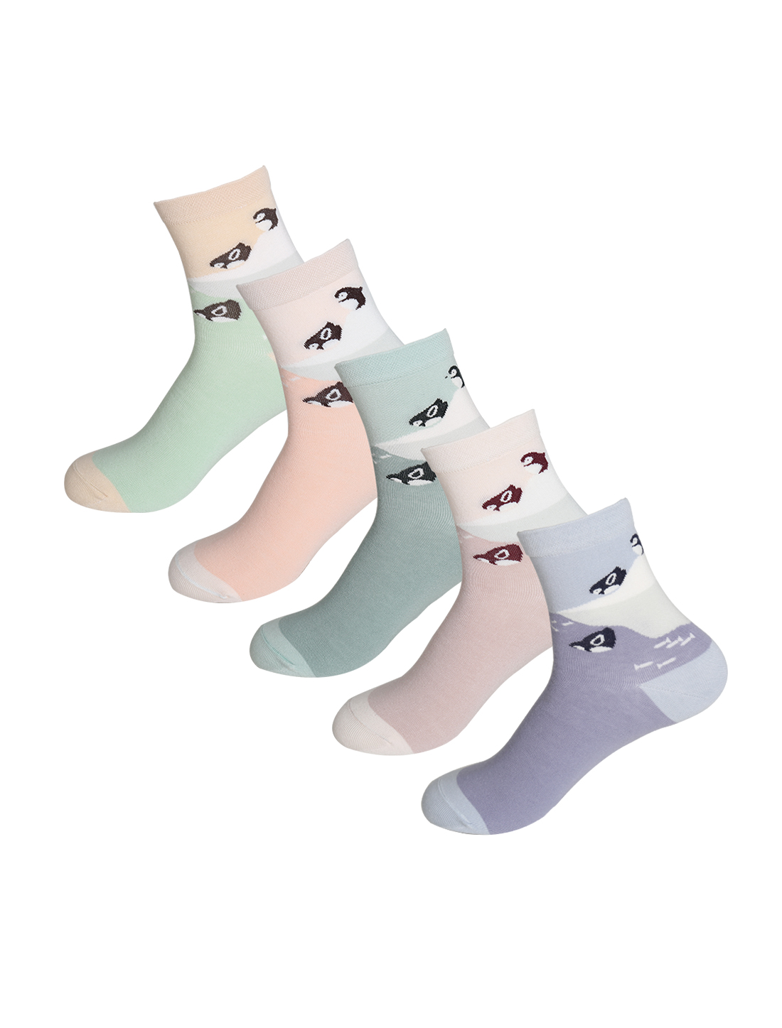 Women 5 Pack Stretchy Penguin Fish Crew Socks Assorted 9-11