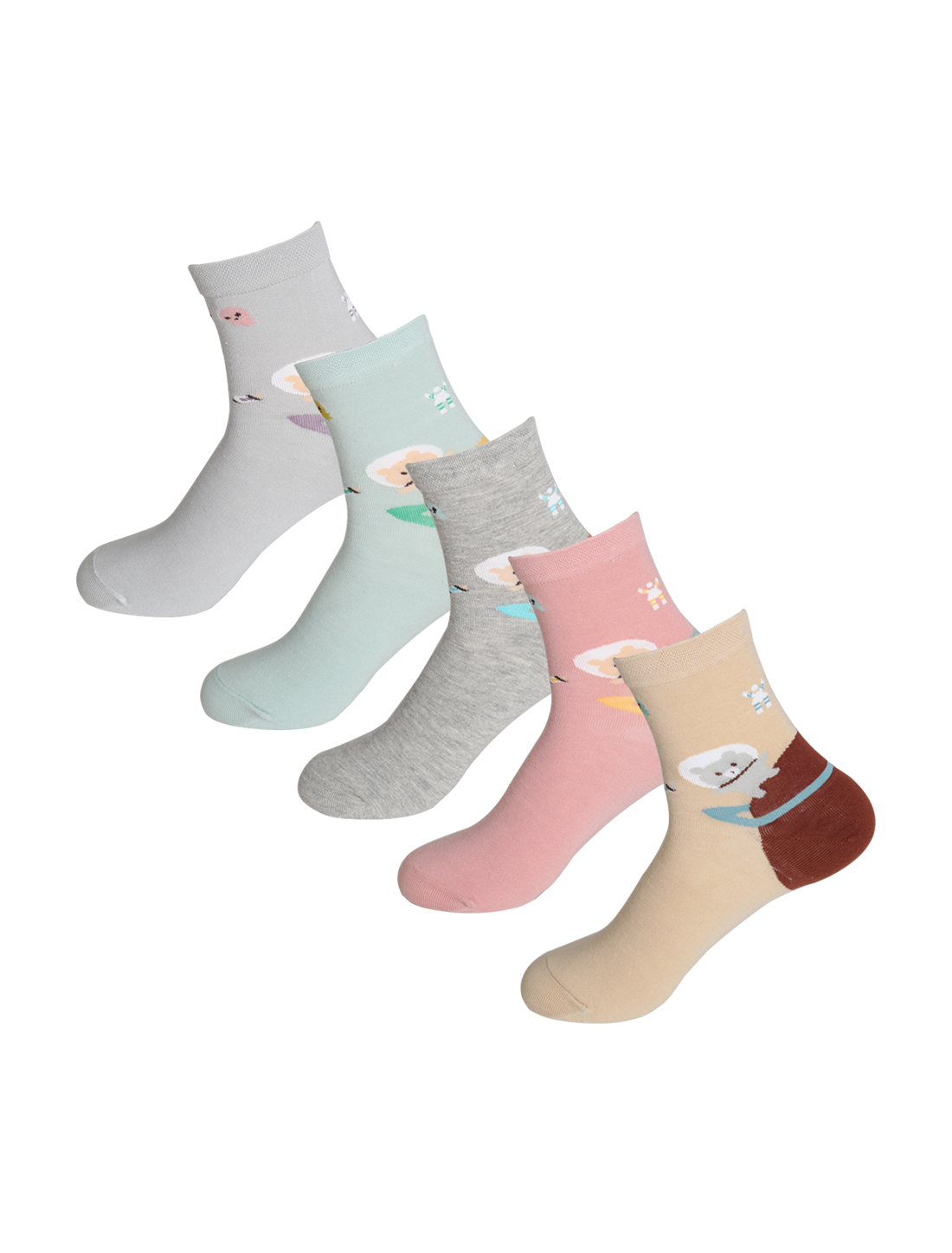 Women 5 Pack Stretchy Bear Planet Crew Socks Assorted 9-11