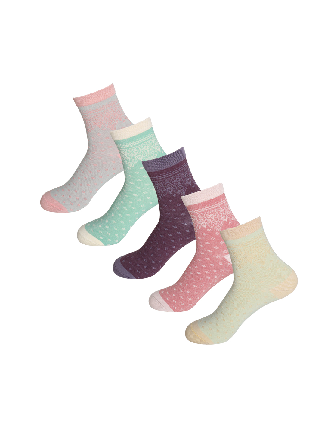 Women 5 Pack Stretchy Floral Embroidery Crew Socks Assorted 9-11