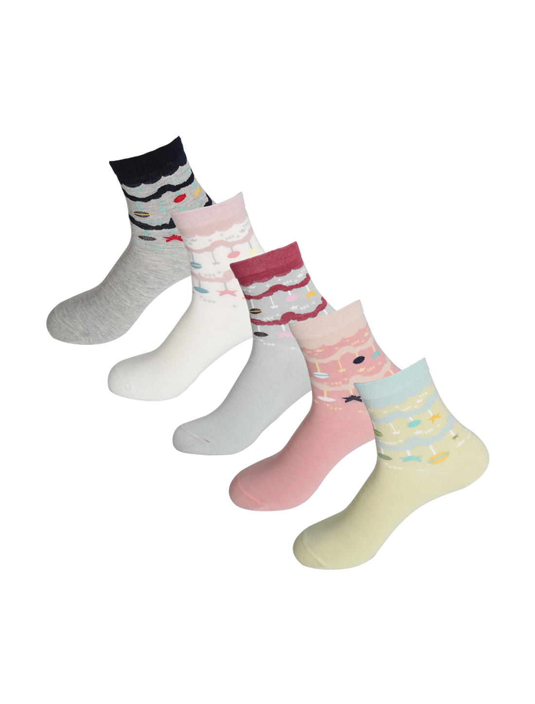 Women 5 Pack Stretchy Pendant All Season Crew Socks Assorted 9-11