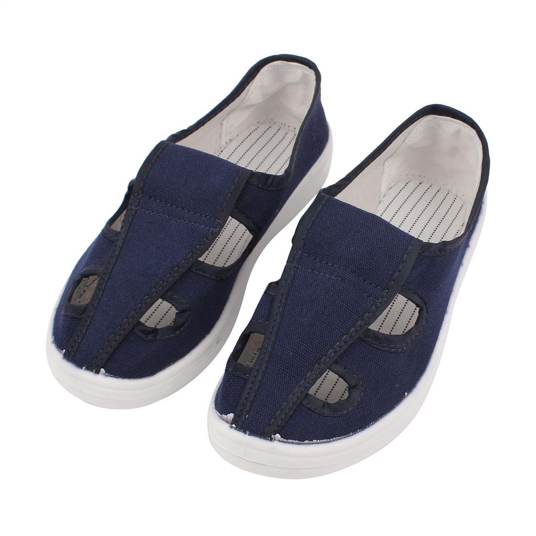 US8 UK7.5 EU41 PU Soft Bottom Nonslip Flat Sole Anti-static 4-Hole Canvas Shoes