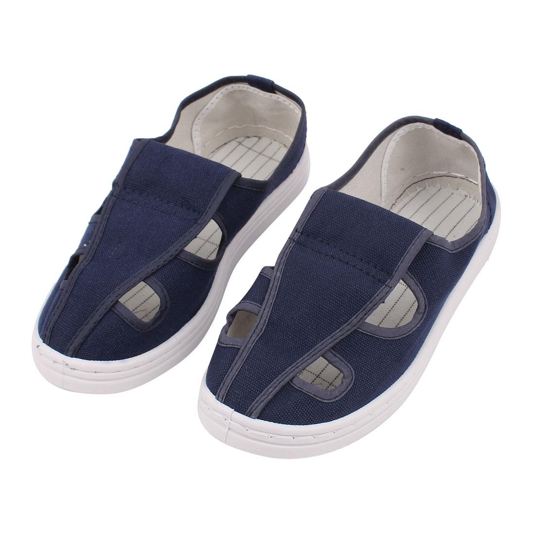 US5.5 UK3 EU36 PVC Hard Bottom Nonslip Flat Sole Anti-static 4-Hole Canvas Shoes
