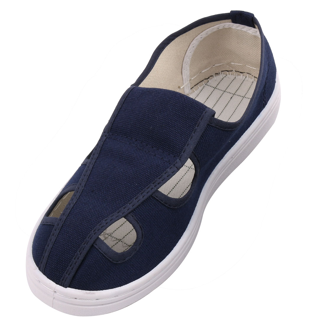 US6 UK4 EU36 PU Soft Bottom Nonslip Flat Sole Anti-static 4-Hole Canvas Shoes