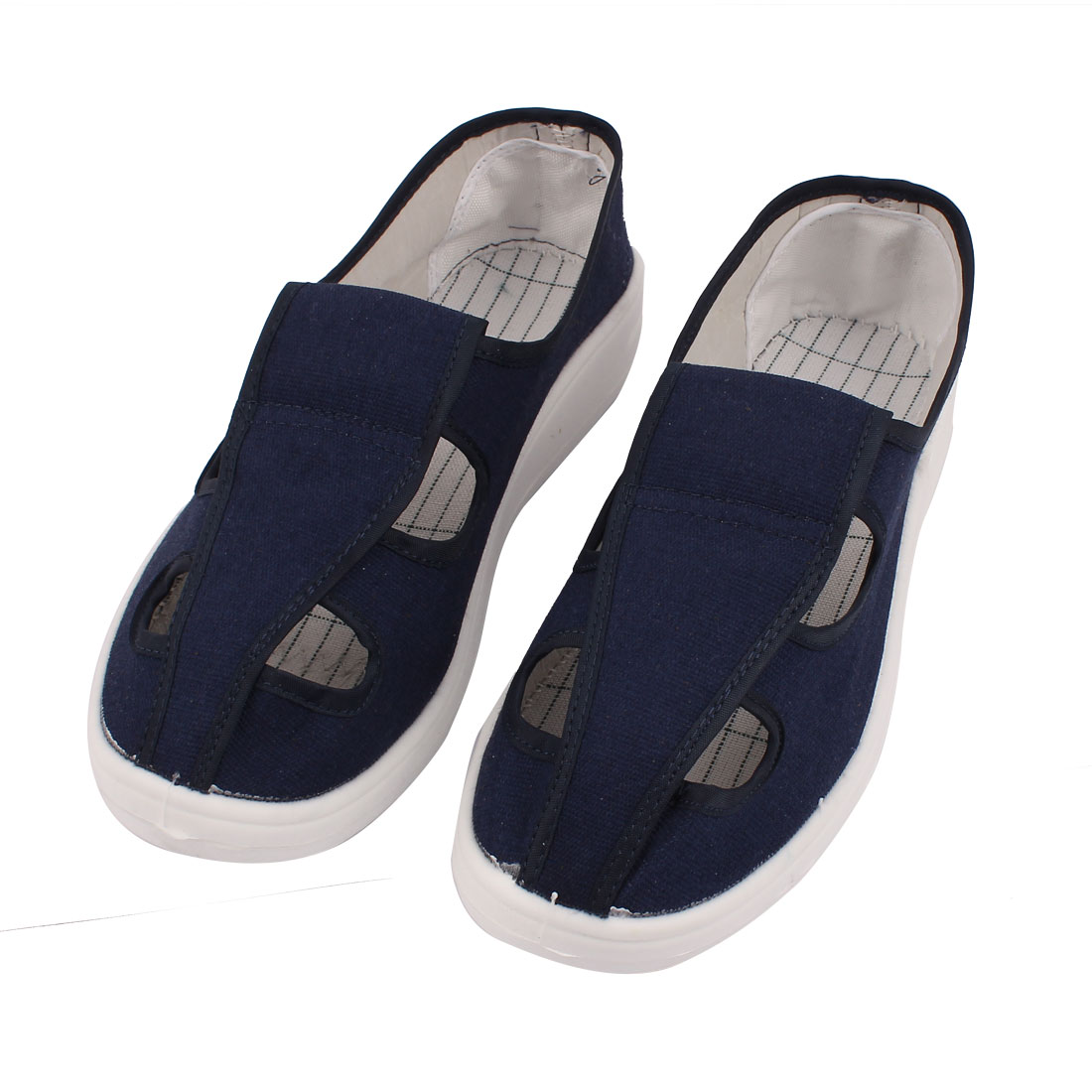 US12 UK11.5 EU45 PVC Nonslip Flat Sole Anti-static 4-Hole Canvas Shoes