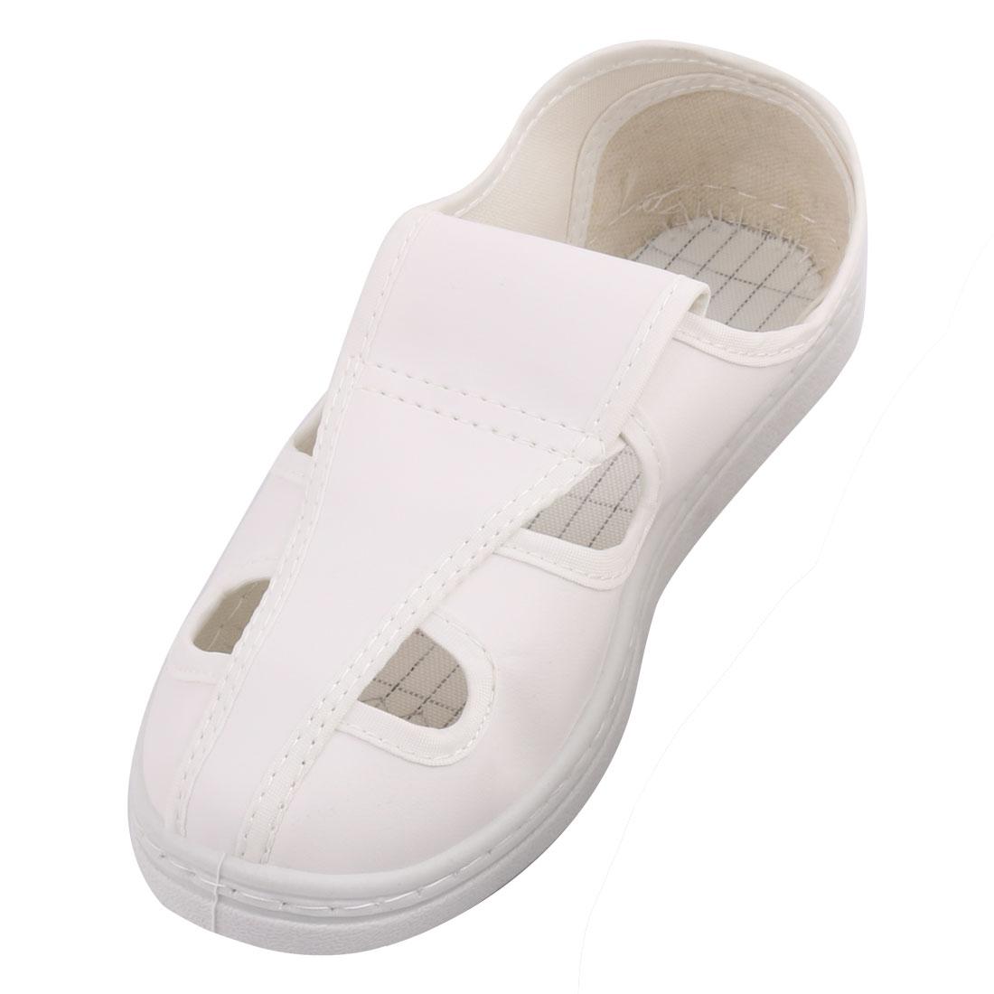 US5.5 UK3.5 EU35 PU Hard Bottom Nonslip Flat Sole Anti-static 4-Hole Leather Shoes