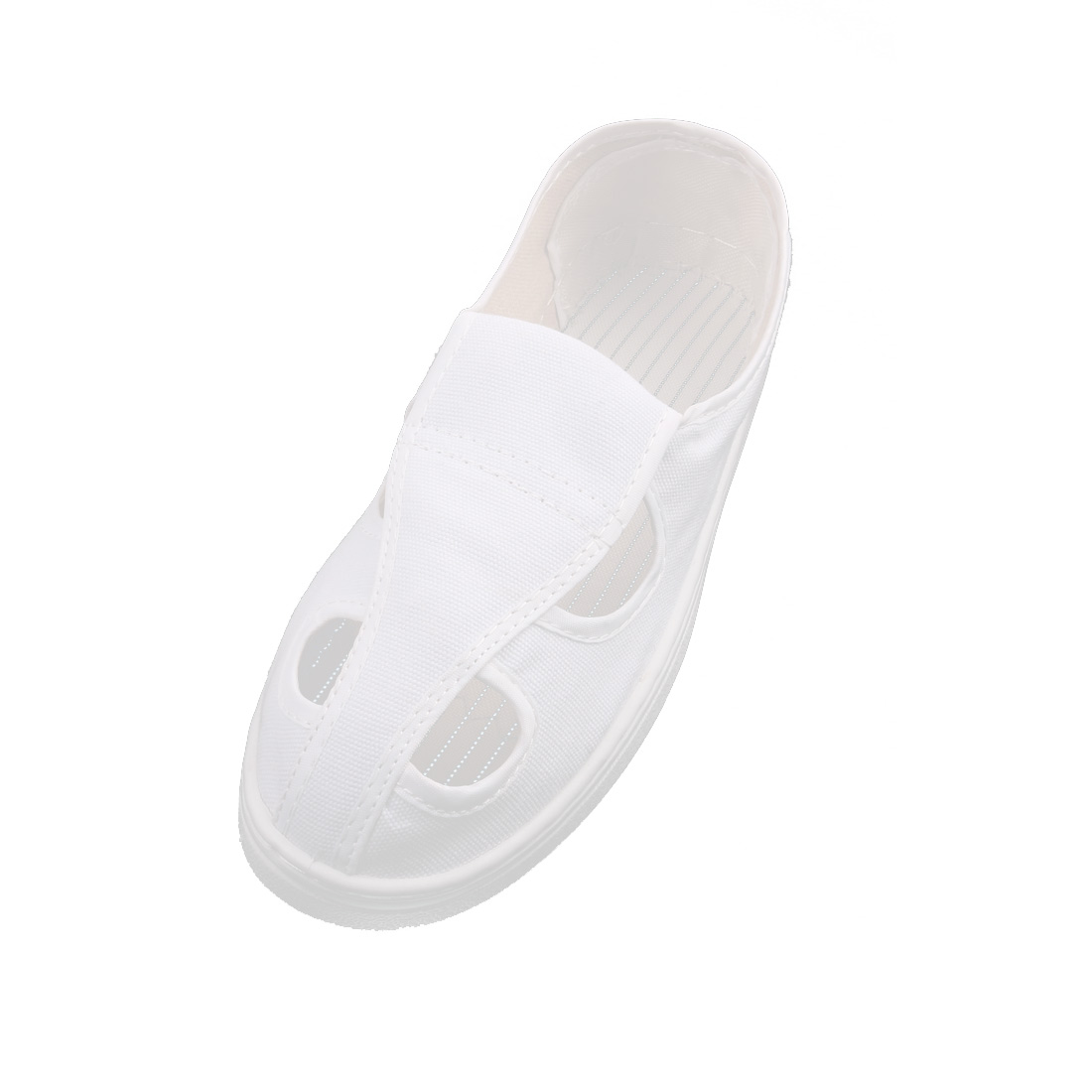 US9.5 UK8.5 EU43 PU Soft Bottom Nonslip Flat Sole Anti-static 4-Hole Canvas Shoes White