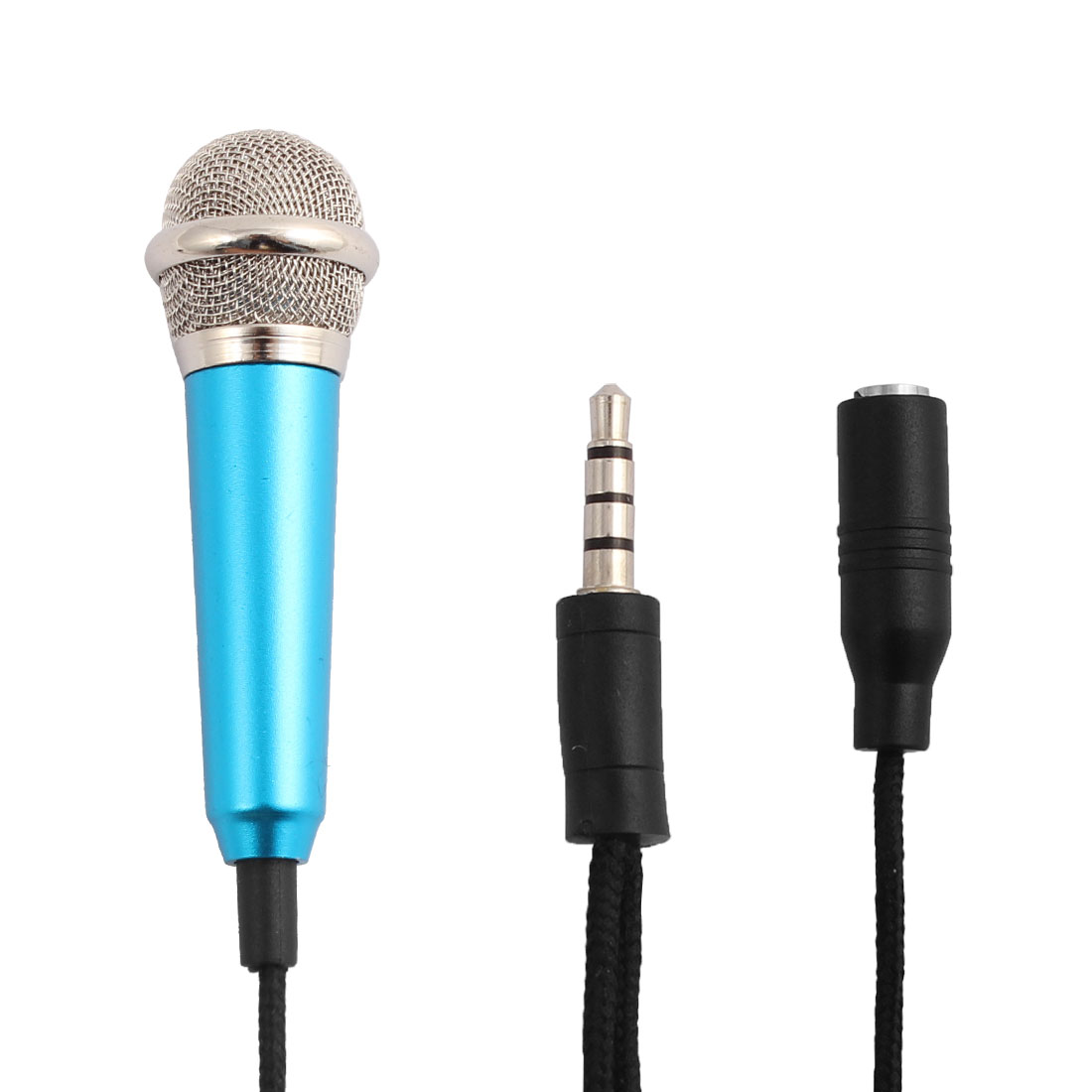 Mini Portable 3.5mm Connector Stereo Microphone Mic Navy Blue for Smartphone Laptop Notebook