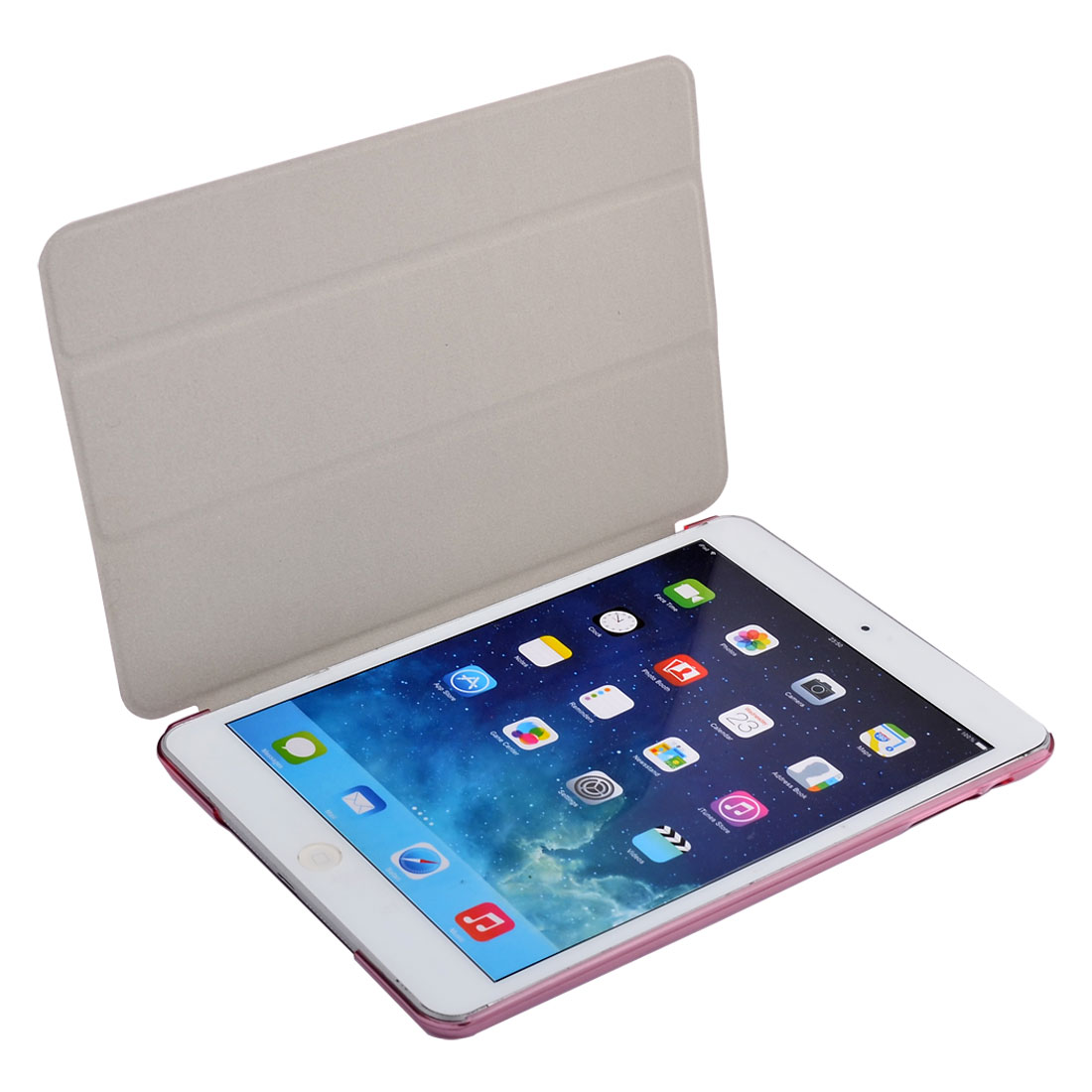 Fuchsia Plastic Back PU Leather Protect Shell Case Cover for iPad Mini 1/2/3