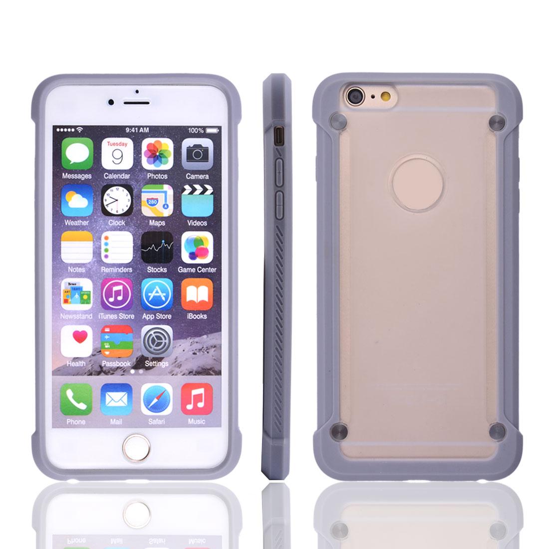 Smartphone Plastic Durable Transparent Back Phone Case Gray for Iphone 6 Plus