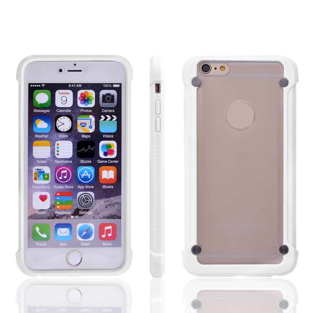 Phone Plastic Scratch Protective Tough Transparent Back IPhone Case White for Iphone 6 Plus