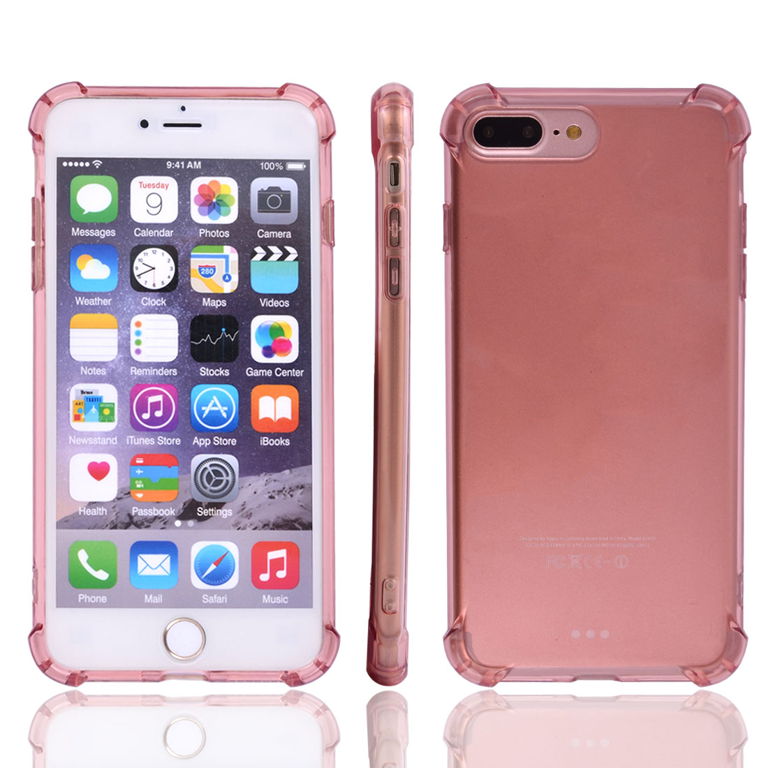 TPU Card Slots Phone Case Crystal Back Cover Light Pink for iPhone 7 Plus