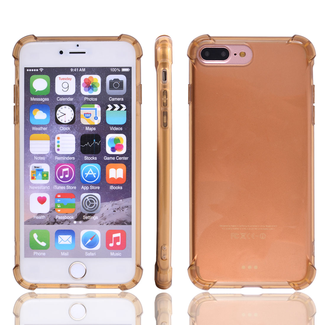 TPU Skidproof Card Slots Protective Phone Case Crystal Back Cover Dark Yellow for iPhone 7 Plus