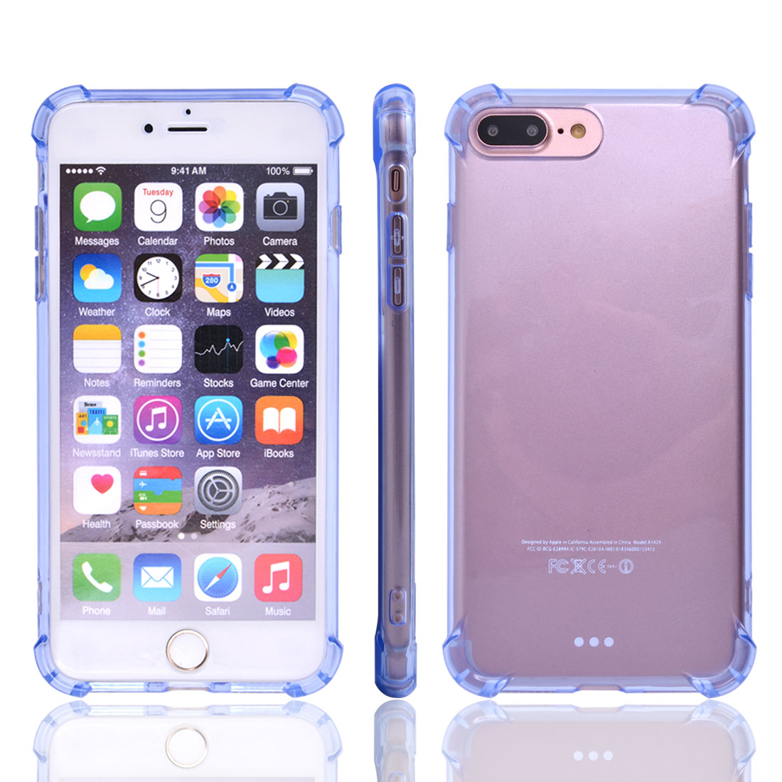 TPU Rectangle Shaped Card Slots Protective Phone Case Crystal Back Cover Light Blue for iPhone 7 Plus