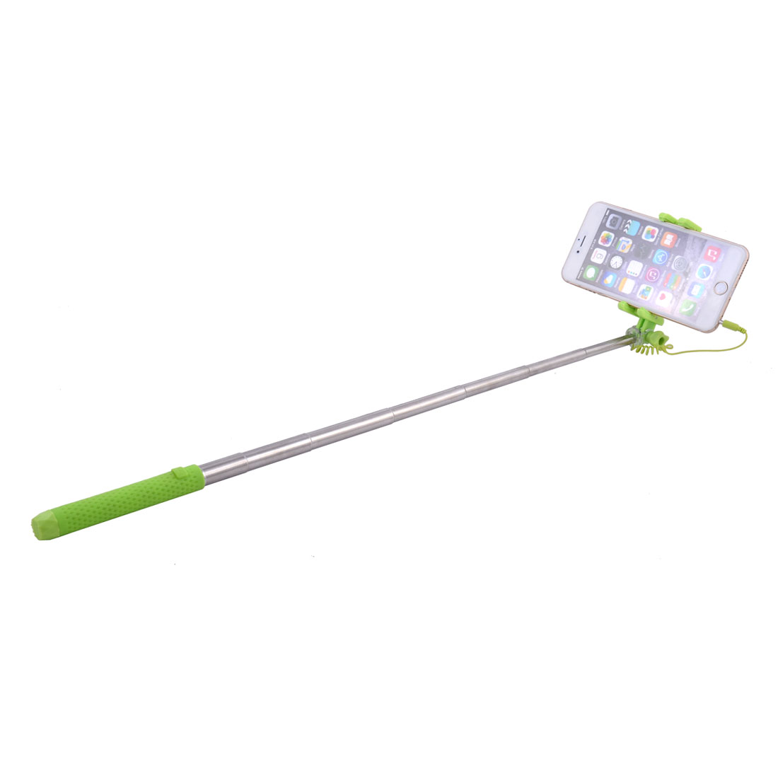 Plastic Cell Phone Holder Extendable Cable Take Pole Handheld Monopod Selfie Stick Green