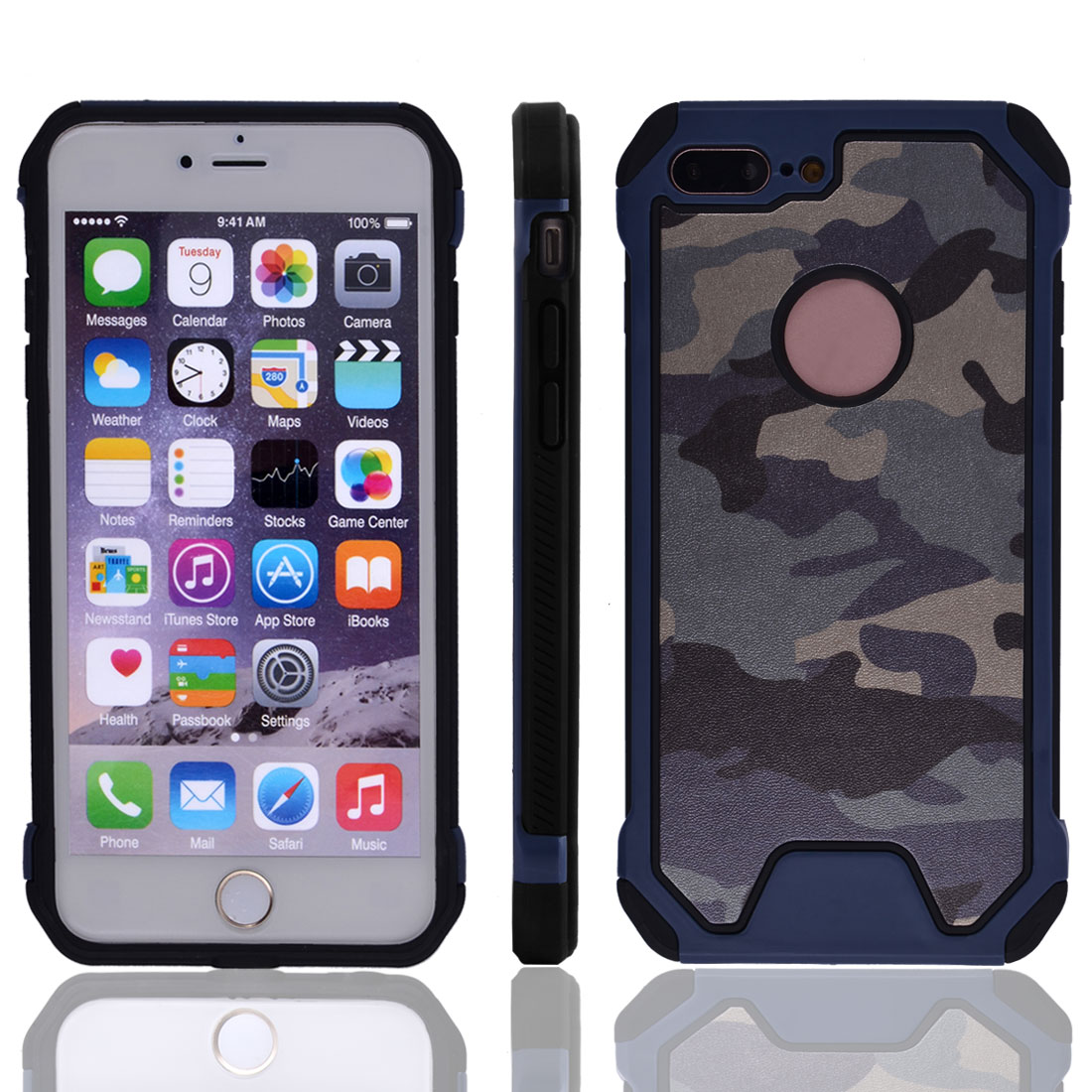 TPU Camouflage Shockproof Phone Cover Protector Case Navy Blue for IPhone7 Plus
