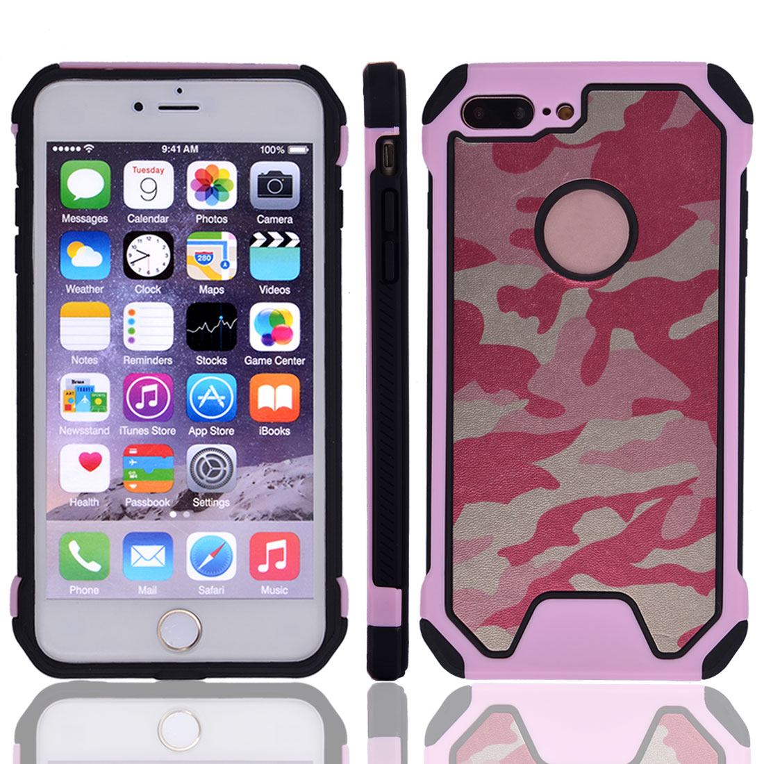 TPU Camouflage Shockproof Phone Cover Protector Case Pink for IPhone7 Plus
