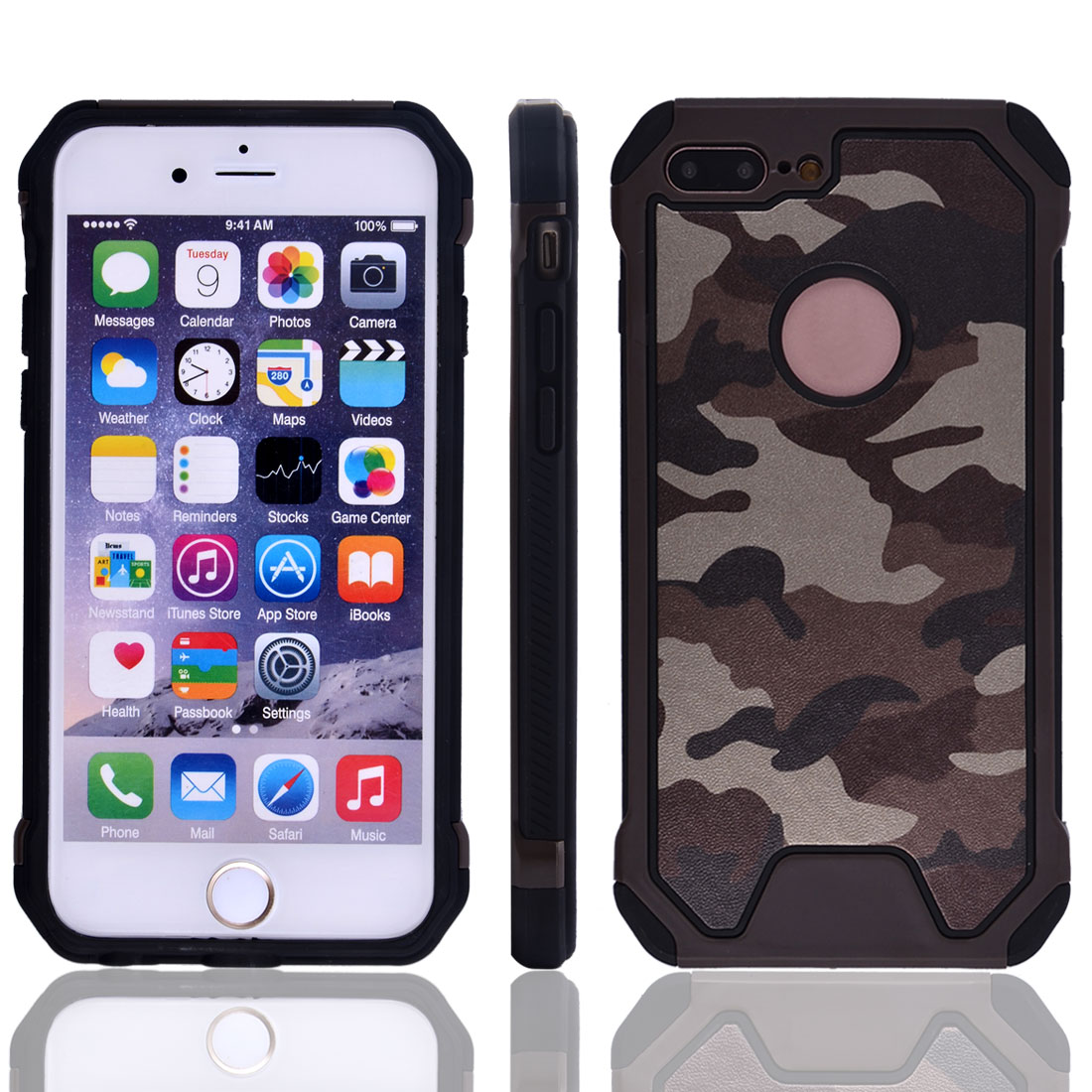 TPU Camouflage Shockproof Phone Cover Protector Case Brown for IPhone7 Plus