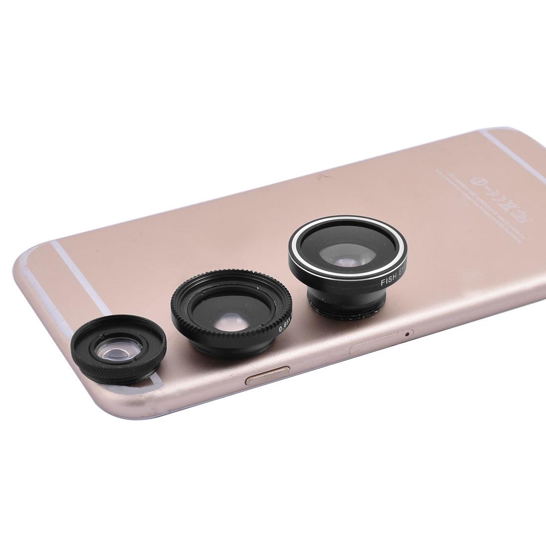 6 in 1 Multi LED Light Fisheye Macro Wide Angle Camera Lens Black for Cellphone