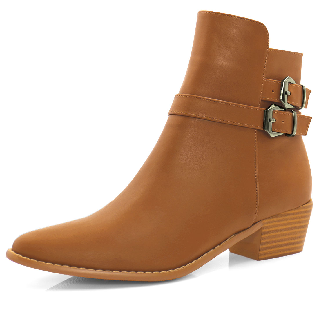 Women Pointed Toe Buckled Strap Zipper Ankle Boots Brown US 7